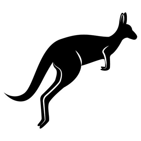 Grafika wektorowa sylwetki czarnego kangura, który skacze na odosobnionym białym tle