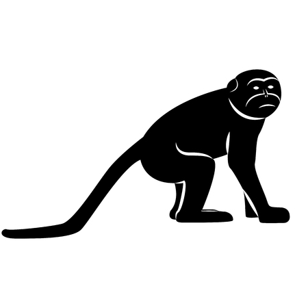 Vector image of silhouette of monkeys macaques on a white background
