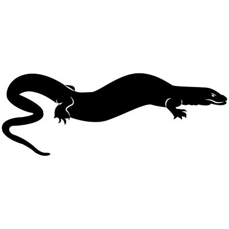 Grafika wektorowa sylwetki jaszczurki z Komodo Varanas na białym tle