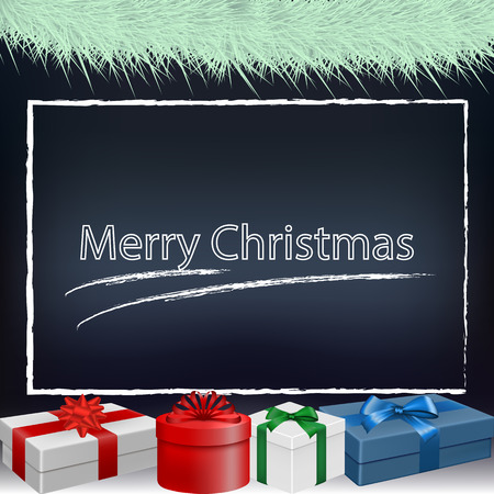 Vector image of a new year, christmas background with the words of a happy christmas. Gifts under the Christmas tree Banco de Imagens - 122410441