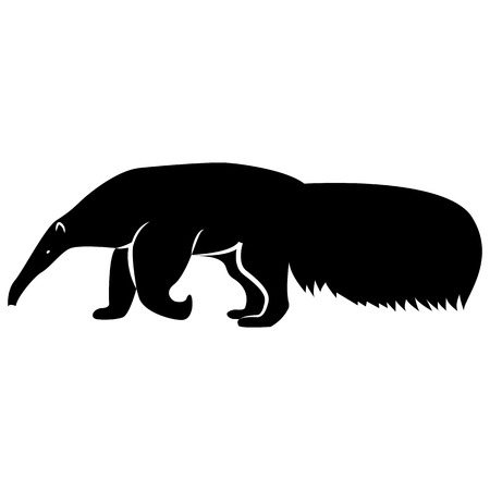 Vector image of a silhouette of a ant-eater on a white background