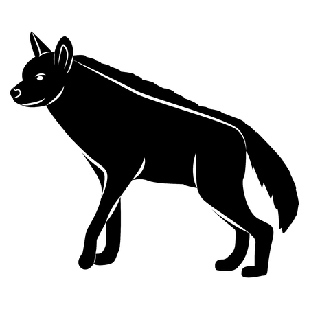 Vector image of a hyena silhouette on a white background Illustration