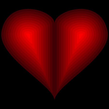 Vector image icons hearts. Red heart on a black background.
