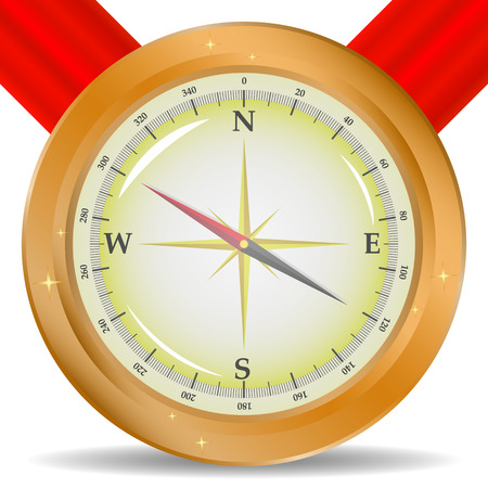 Compass image on red ribbon