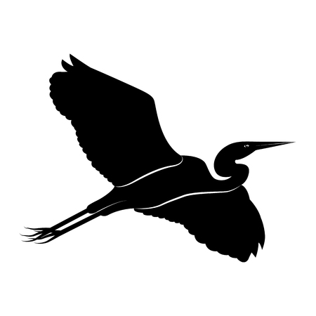 Vector image of the silhouette of the flying heron  イラスト・ベクター素材