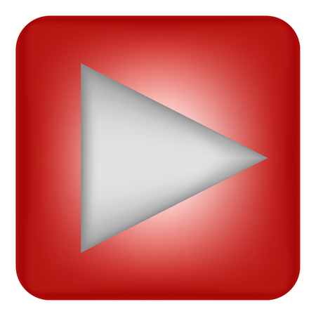 Vector image of a flat icon with a play button in red. Right arrow
