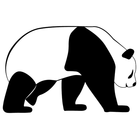 Vector image of a panda bear silhouette on a white background