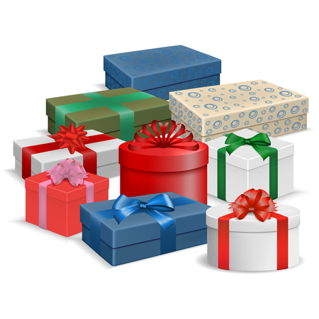 Vector image of realistic colorful, gift boxes with ribbons and bows on a white background. Ilustração
