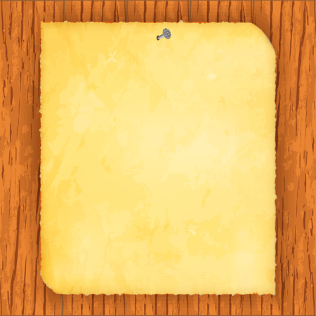 Vector image of a realistic old sheet of paper on a wooden background