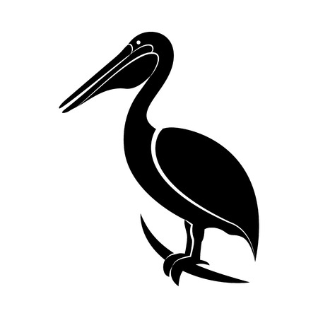Vector image of pelican silhouette