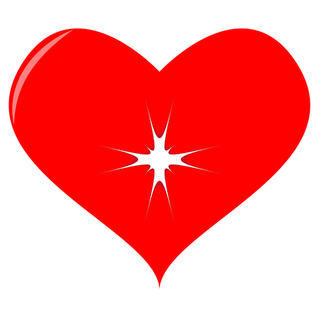 Vector image of a flat red red heart with an aperture. A broken heart. Ilustração
