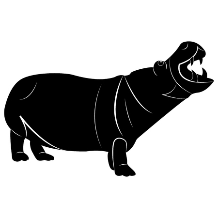 Vector de la imagen de una silueta de un hipopótamo