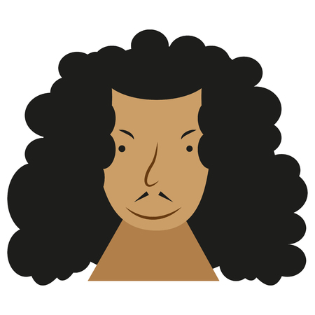 Picture of a flat icon of a man's face with curly hair. Caricature of a man's face