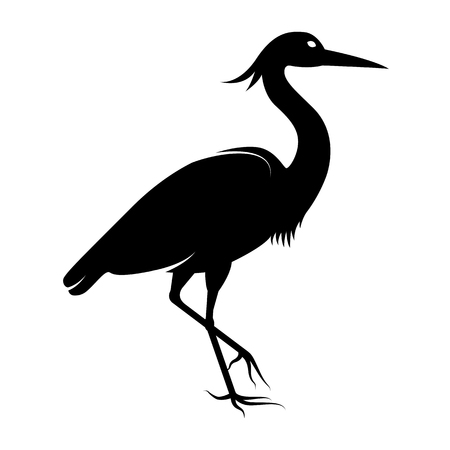 Vector image of the silhouette of the birds of the heron Ilustracja
