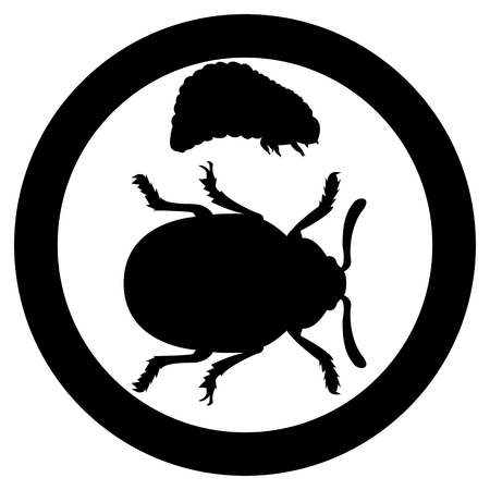 Vector image of the Colorado beetle silhouette and its crests on a white background