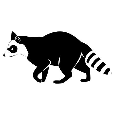 Vector de la imagen de la silueta de un mapache sobre un fondo blanco