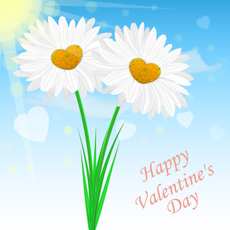 Vector image of realistic chamomile flowers on the background of the sky. Congratulatory Valentines Day card