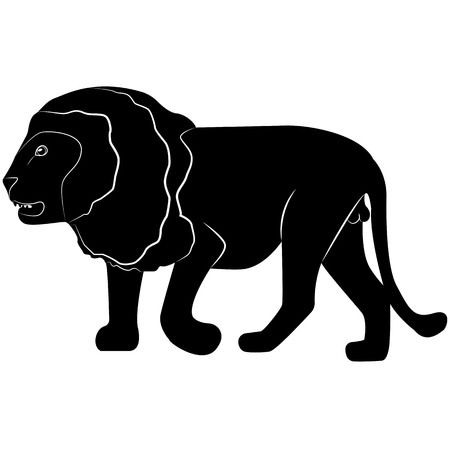 Vector image of a silhouette of a lion