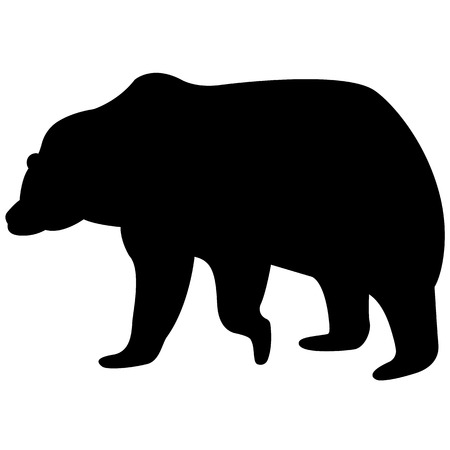 Vector image of a brown bear silhouette on a white background Illustration