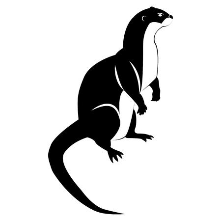 Immagine vettoriale di una silhouette di una lontra su sfondo bianco white