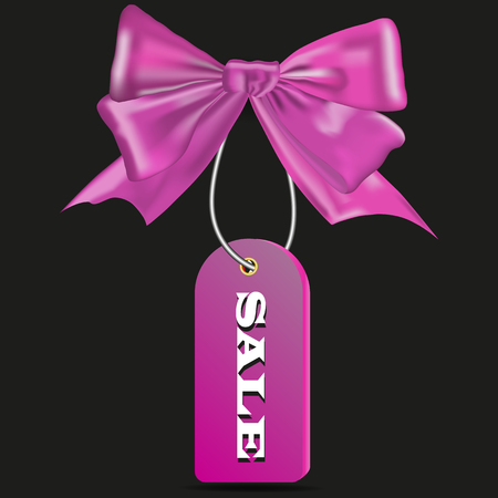 Picture of a pink bow with a beige for sale on a black background Ilustração