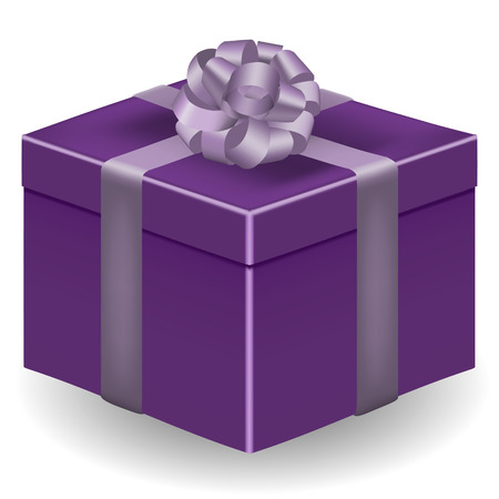 Vector image of a violet, realistic, gift box with a silver ribbon and a bow, on an isolated white background. Çizim