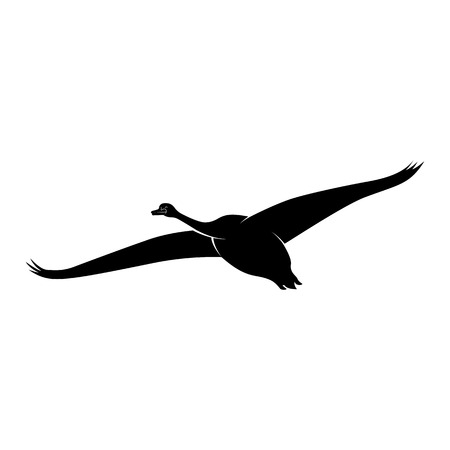 Vector image of a silhouette of a swan bird in flight Illustration