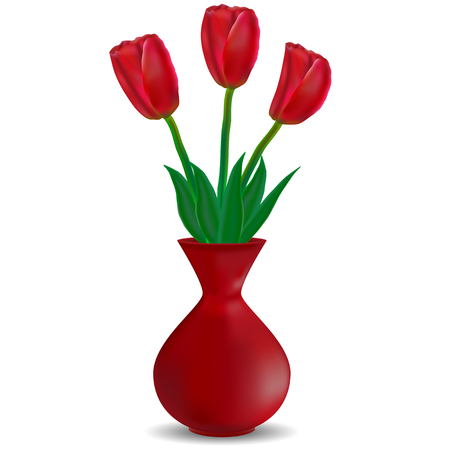 Vector image of a red vase with red tulips on a white background