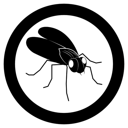 Vector image of a silhouette of flies on a white background