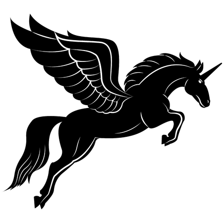 Vector image of a silhouette of a mythical creature of pegasus on a white background. Horse with wings on hind legs. Ilustração