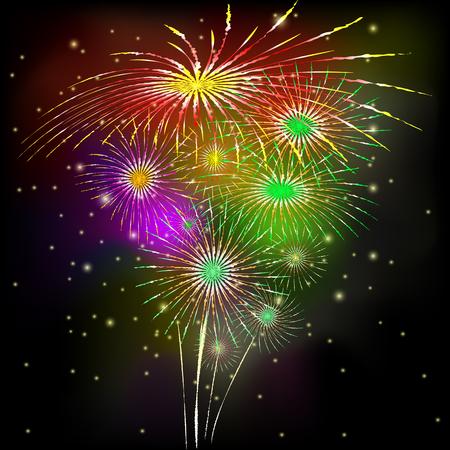 Immagine di vettore di saluto. Fuochi d'artificio su sfondo nero. Vettoriali