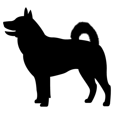 Vector image of a silhouette of the hawker breed dog on a white background