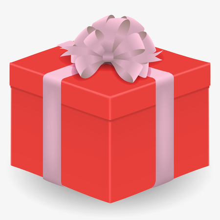 Vector image of a red, realistic, gift box with a red ribbon and a bow, isolated on a white background Çizim