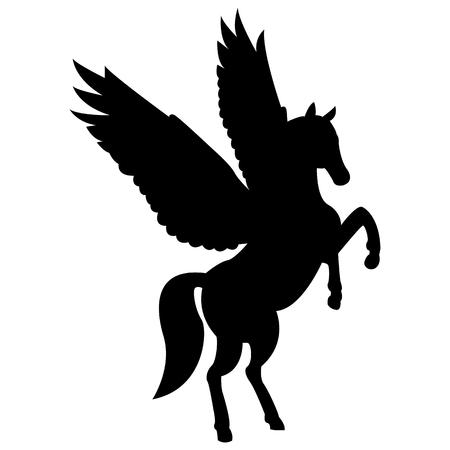 Grafika wektorowa sylwetki mitycznego stworzenia Pegaza na białym tle. Koń ze skrzydłami na tylnych łapach. Ilustracje wektorowe