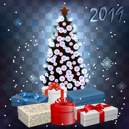 Vector image of New Year, transparent background with fir, snowflakes and gifts with bows and ribbons