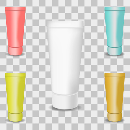 Vector image of a set of realistic plastic tubes for cosmetics and hygiene on a transparent background Ilustração