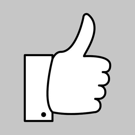 Vector image of a flat hand icon with a thumbs up. The like icon.