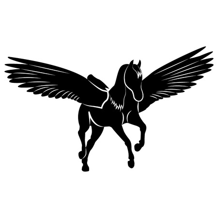 Vector image of a silhouette of a mythical creature of pegasus on a white background. Horse with wings on hind legs. Vettoriali