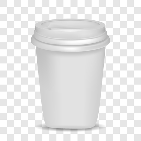 Vector image of a realistic plastic cup with lid on a transparent background. 3d plastic cup