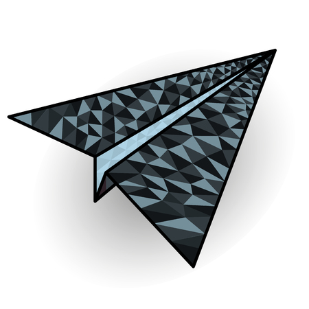 Vector image of a paper plane icon painted by a geometric shaped triangle