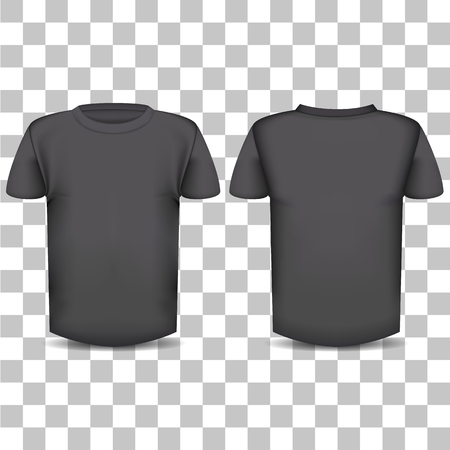 The image of the front and back of the T-shirt on a transparent background Ilustração