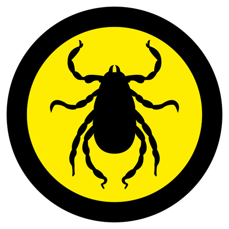 Vector image of a silhouette of a tick on a yellow background