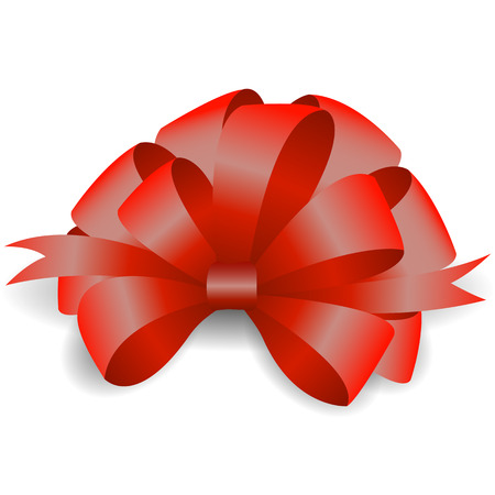 Vector image of a red realistic bow on a white background