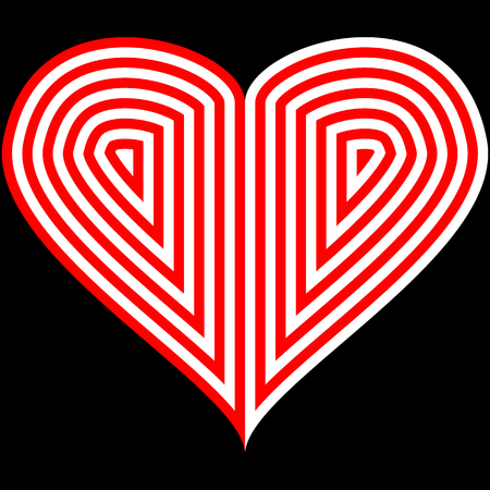Vector image of a flat heart icon. Red and white heart on a black background..