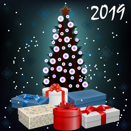 Vector image of a New Year background with Christmas tree, snowflakes and gifts with bows and ribbons