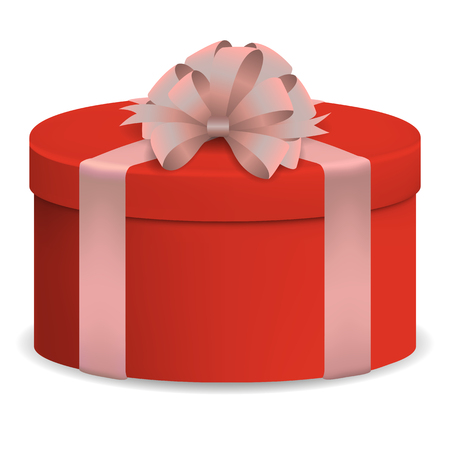Vector image of a reelistic, red, circular, closed box dressed with pink ribbon with a bow on a white isolated background.