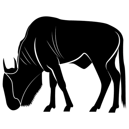 Vector image of a silhouette of antelope wildebeest animal