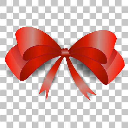Vector image of a red realistic bow on a transparent background