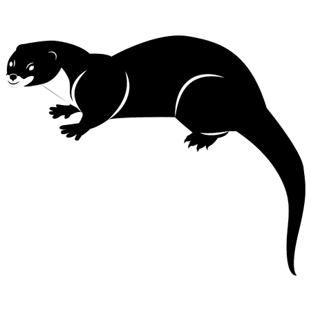 Vector image of a silhouette of an otter on a white background