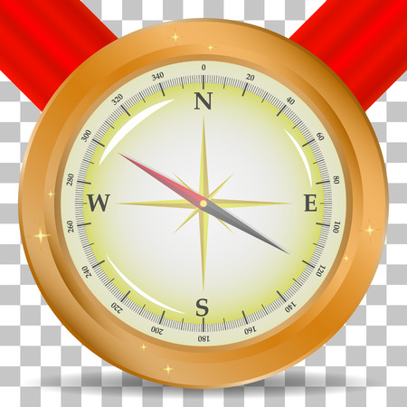 Compass image with a red ribbon on a transparent background  イラスト・ベクター素材